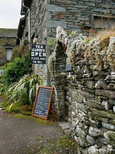 Park Farm Tea Garden entrance on the Cumbria Way near Skelwith Bridge, Lake District, Cumbria, England, United Kingdom. British Pub, British Isles, Wales, Garden Entrance, English Countryside, Cumbria, Lake District, Country Life, Great Britain