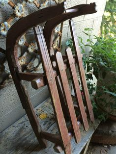 Antique European Child's Red Sled--could I make for decor (use hockey sticks for runners)?