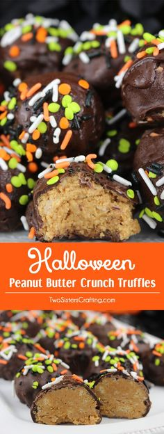Halloween Peanut Butter Crunch Truffles - easy to make homemade Halloween Peanut Butter Crunch Truffles for a Halloween Party or a Halloween family night. These chocolate covered peanut butter candy is a fun Halloween dessert that your family will love.  Pin this yummy Halloween treat for later and follow us for more Halloween Food ideas.