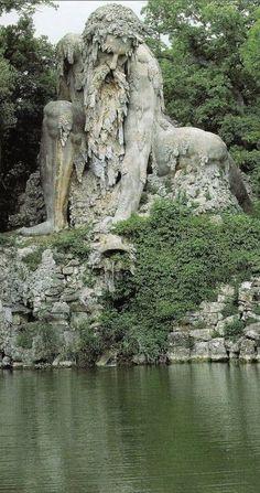 Colosso dell'Appennino in the Parco Mediceo di Pratolin near Florence, Italy • sculptor, Giambologna (1580)