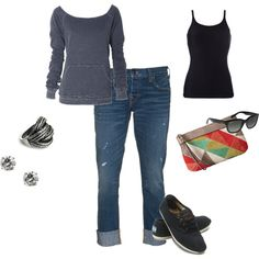 Comfy and cute- my Toms would look cute with this laid back look.