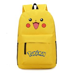 VN 2016 hot Pikachu cute smile face printed canvas bag pouch young Pokemon gengar backpack boy / girl's best gift