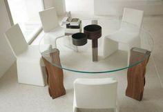 runde esstische esszimmertische mit stühlen glas holzbeine
