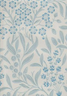 Tapettitehdas Pihlgren ja Ritola Oy - Rantakukka Fabric Wallpaper, Wall Wallpaper, Modern Farmhouse, Aqua, Blue China, Beautiful Patterns, Home Deco, Color Inspiration, Flower Art