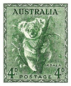 1940 Australia Koala Postage Stamp by Retro Graphics Rare Stamps, Vintage Stamps, Digi Stamps, Great Barrier Reef Australia, Koala Marsupial, Stamp Values, Postage Stamp Art, Mail Art, Stamp Collecting