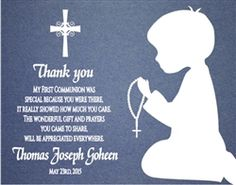 First Communion Thank You Card - Shadow Child. Choose Boy or Girl.