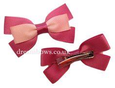 Pink grosgrain ribbon hair bows on alligator clips - www.dreambows.co.uk #pinkbows #handmade #craftedbows #alligatorclips #hairclips #hairslides #ribbonbows #girlsbows