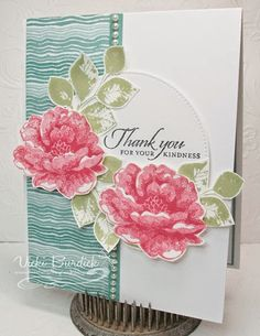 handmade card from It's a Stamp Thing ... Stippled Blossoms ... luv the three color ranges of rosy pinck, teals and green .. pretty card .... Stampin'Up!