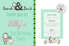 Girls Sarah and duck birthday invitation MintDigital.tictail.com