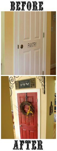 Before and after pantry door painted red.  There is a history of red doors too I never knew. Pretty neat info! You need a red door:)