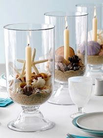 Hurricane Centerpieces with Sand, Shells, and a Candle