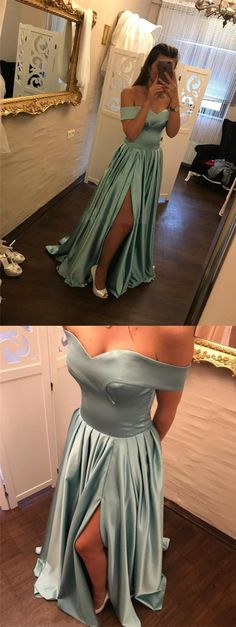 elegant off the shoulder prom dress with pleats, chic off the shoulder party dress with split