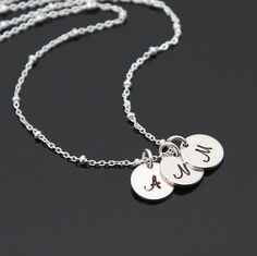 Sterling Silver Initial Charm Necklace by NeliaKJewels on Etsy Family Necklace, Kids Necklace, Initial Charm Necklaces, Monogram Necklace, Initial Fonts, Personalized Charms, Birthstone Necklace, Dainty Jewelry, Silver Charms