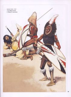 Masai Raid,1857. 1 & 2:Masai moran.3:'Baluchi' mercenery.