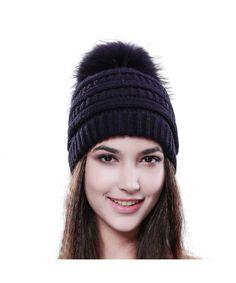 31b8261571e Womens Winter Slouchy Beanie Hat Knitted Real Fur Pom Pom Hats Cap For  Girls Original Navy Blue C712LWBQENT
