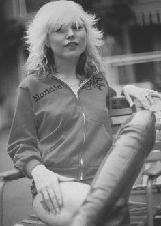 Debbie Harry in thigh-high boots, hot pants and a hoodie, 1978
