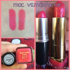 On the left Mac Impassioned on the right Max Factor 827 Bewitching Coral :) dupe