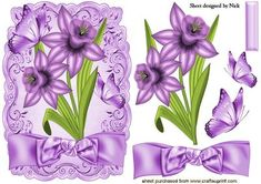 PRETTY PURPLE DAFFODILS WITH BOW on Craftsuprint - Add To Basket!