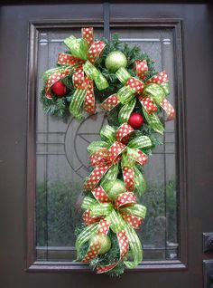 Christmas Wreath Candy Cane Decoration Door Decor by LuxeWreaths