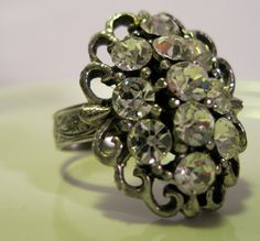 UpCycled Jewelry Vintage Ring Clear Rhinestone by NewToYouJewelry