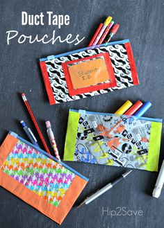 Duct Tape Pencil Pouches (Easy Back to School Craft) is part of School crafts For Teens Get ready for back to school by making theses fun pencil pouches out of duct tape and resealable bags! Duct Tape Projects, Duck Tape Crafts, Craft Projects, Craft Ideas, Crafts For Teens, Crafts To Do, Arts And Crafts, Back To School Crafts For Kids, Older Kids Crafts