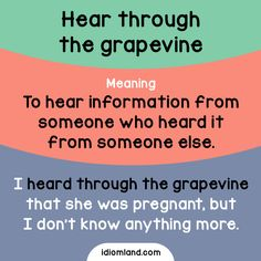 Idiom of the day: Hear through the grapevine.  Meaning: To hear information from someone who heard it from someone else.  Example: I heard through the grapevine that she was pregnant, but I don't know anything more.