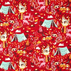 Tula Pink - Moon Shine - Forest Frivolity in Strawberry by Bobbie Lou's Fabric Factory (tent, camping, deer, bear, tree house)