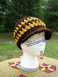 Handmade Crochet GOLD STRIPE BILL CAP Hat hippie Women Men NEW DESIGN! Brown a08002caf2