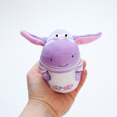 Donkey Sock Toy - Stuffed Animal Doll, Small Personalized Gift for Babies, Kids or Women, Soft and Handmade, Purple