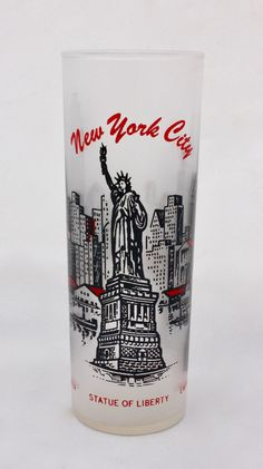 Vintage Frosted New York City Souvenir Glass/ by CuriousAndVintage