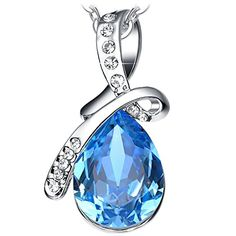 Gifts for Women Sapphire Blue Crystal Pendant Necklace Fashion Jewelry Gifts for Her Girls Birthday Anniversary Valentines Mothers Day White Gold Plated #Gifts #Women #Sapphire #Blue #Crystal #Pendant #Necklace #Fashion #Jewelry #Girls #Birthday #Anniversary #Valentines #Mothers #White #Gold #Plated