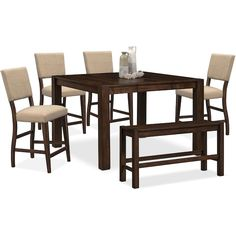 Tribeca Counter-Height Table, 4 Upholstered Side Chairs and Bench - Tobacco | Value City Furniture and Mattresses
