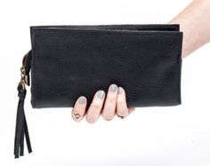 Black Leather Wallet Women Leather Clutch Gift for her by MeitaLev