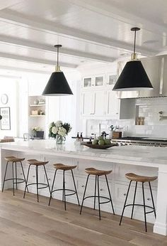 58 Unique Kitchen Island Design Ideas For Home Home Decor Kitchen, Kitchen Interior, Kitchen Ideas, Decorating Kitchen, White Bar Stools, Stools For Kitchen Island, Kitchen Counters, Kitchen Cabinets, Farm House Bar Stools