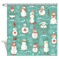 Snowman Christmas Vintage on CafePress.com Vintage Shower Curtains, Fabric Shower Curtains, Curtain Fabric, Waterproof Liner, Shower Rod, Christmas Gifts For Friends, Christmas Snowman, Winter Holidays, Canvas Tote Bags