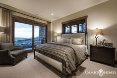 Guest Bedroom in Park City, Utah by Cameo Homes Inc. Park City Home Builders.