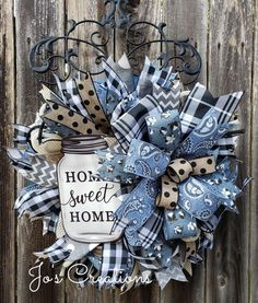 Burlap Flower Wreaths, Fabric Wreath, Deco Mesh Wreaths, Dog Wreath, Wreath Making, Southern Hospitality, Wreath Crafts, Handmade Decorations, Buffalo Plaid