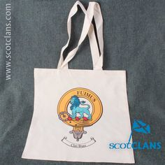 long handled tote bag with printed clan crest