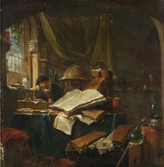 Thomas Wijck, An Alchemist in His Study: A Still Life of Books, Pots and Pans and Books in the Foreground, c. 1616 - 1677