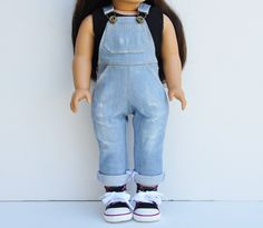 Denim light wash overalls by LoriLizGirlsandDolls on Etsy. Made with the Oh My Gosh Overalls pattern, found at http://www.pixiefaire.com/products/oh-my-gosh-overalls-18-doll-clothes. #pixiefaire #ohmygoshoveralls