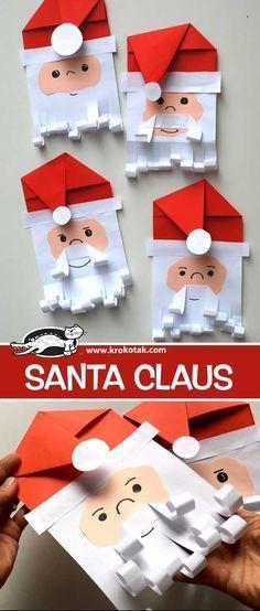 Santa Claus paper craft for kids Christmas Art Projects, Christmas Paper Crafts, Preschool Christmas, Noel Christmas, Christmas Activities, Preschool Crafts, Holiday Crafts, Activities For Kids, Christmas Decorations