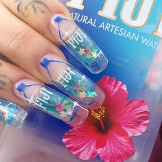 Acrylic And 20 Short Square Nails 2018 15 Cute Designs nail ideas square - Nail Ideas Gel Nails, Acrylic Nails, Fiji Nails, Acrylics, Aquarium Nails, Water Nails, Short Square Nails, Nails 2018, Crazy Nails