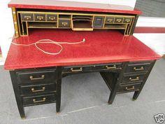 Antique Vintage Desk Dove Tailed Drawers Knee Hole Large Big Huge | SOLD
