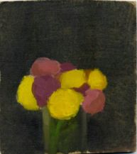 Robert Kulicke,Yellow Pur;le and Pink Flowers in a Glass Vase Against a Black Background,1960
