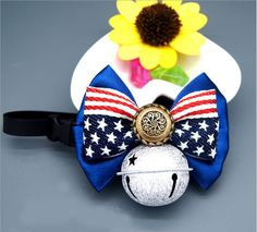 PETFAVORITES American Flag Dog Cat Collar Bow Tie - Patriotic Bowtie Suede Leather Kitten Necklace with Bell - Small Medium or Large Dogs Clothes Costume Outfits Accessories, Adjustable and Handmade >>> Details can be found by clicking on the image. (This is an affiliate link and I receive a commission for the sales)