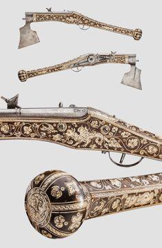 14mm bore wheel-lock pistol and battle axe combination from Nuremberg, c.1580