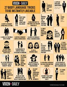 27 Easy Ways To Be Instantly Likeable - Most of us aim to be likable, surrounded by friends and colleagues who find us funny, endearing, or just fun to be around. Whether we realize it or not, all of us grow up learning to read the non-verbal signals that others of our species make. In fact, up to 80% of our communication happens […] Confident Body Language, Formation Management, Reading Body Language, Vie Motivation, How To Read People, Psychology Fun Facts, Color Psychology, Psychology Experiments, Body Language Facts Psychology
