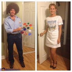 Bob Ross and his Canvas - costume ideas for couples