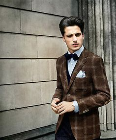 Tweed and black bow tie