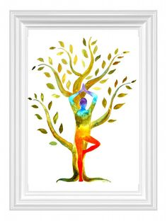 Yoga with Tree original watercolor painting Yoga art with Chakra colors